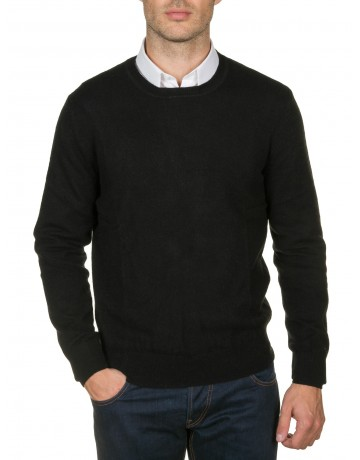 Pull col rond 100% cachemire NOIR