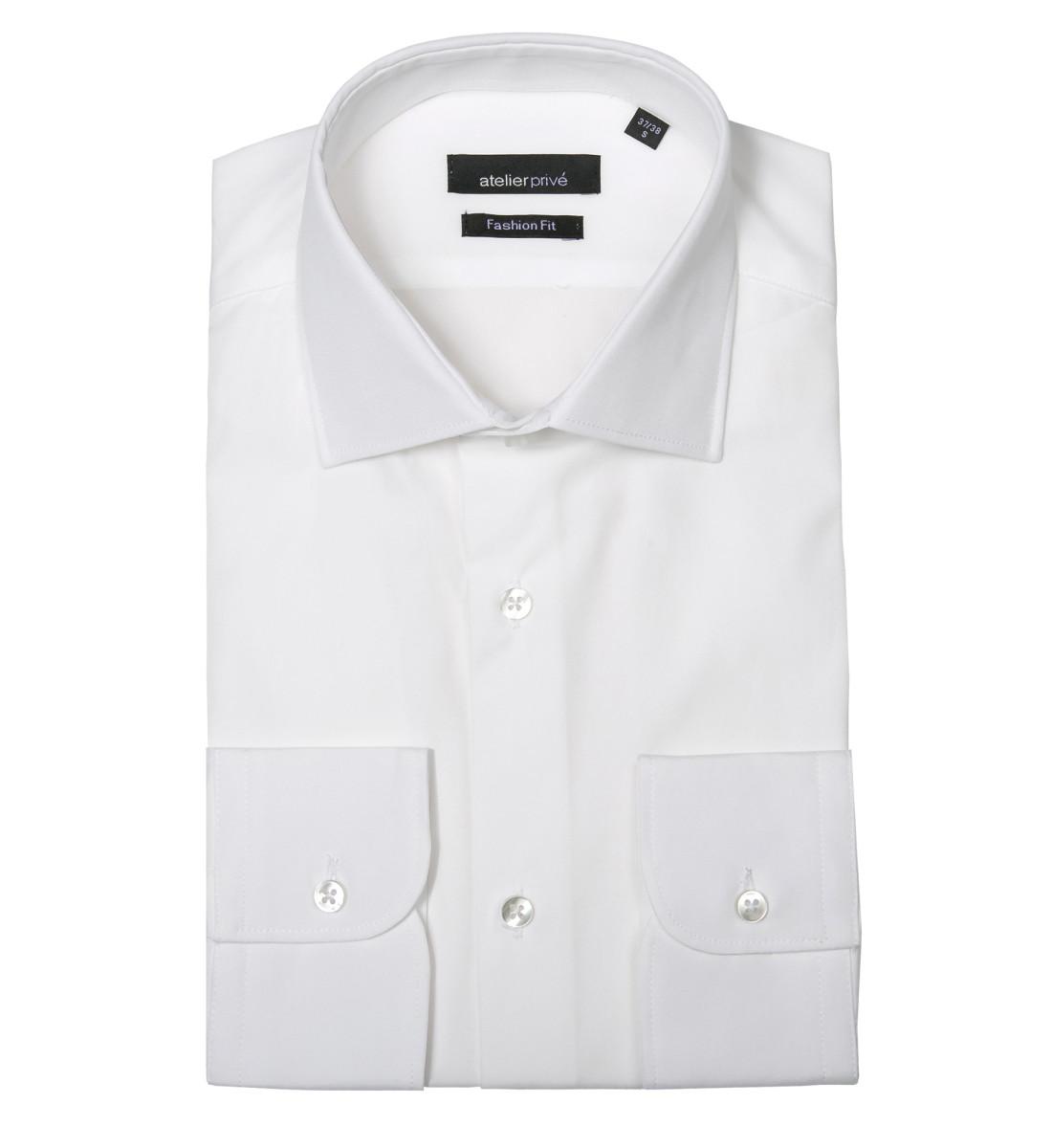 chemise coupe droite en popeline col italien blanc. Black Bedroom Furniture Sets. Home Design Ideas