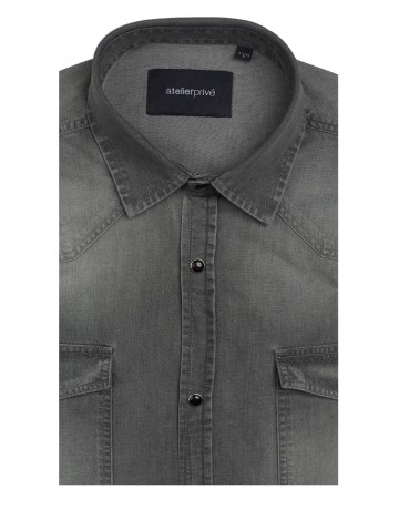 Chemise slim fit western en denim gris