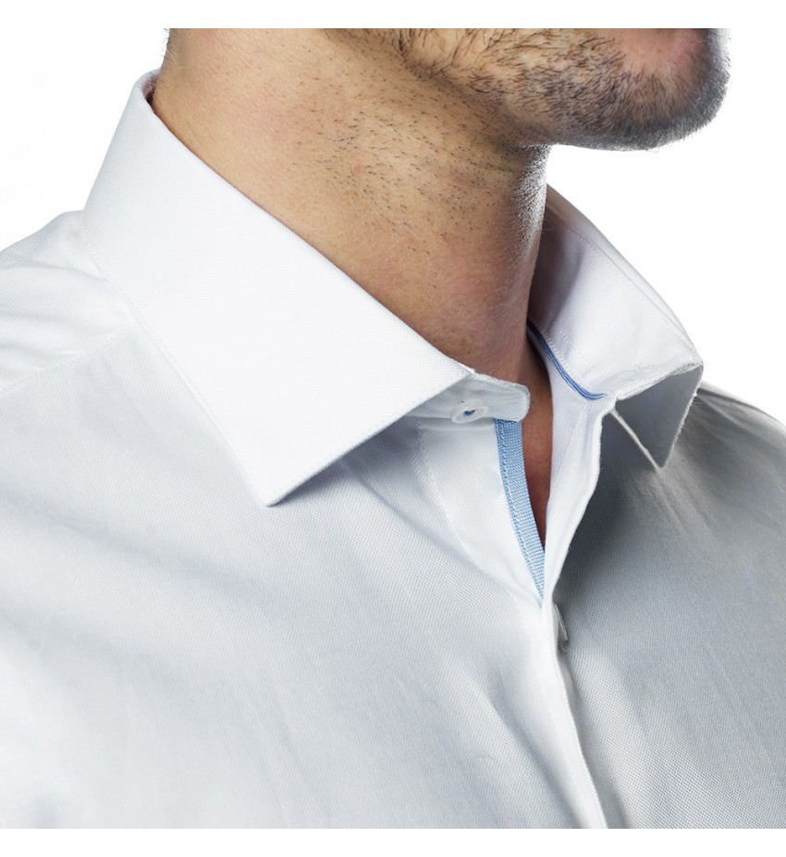 Chemise cintrée en tissu pointe diamantée BLANC