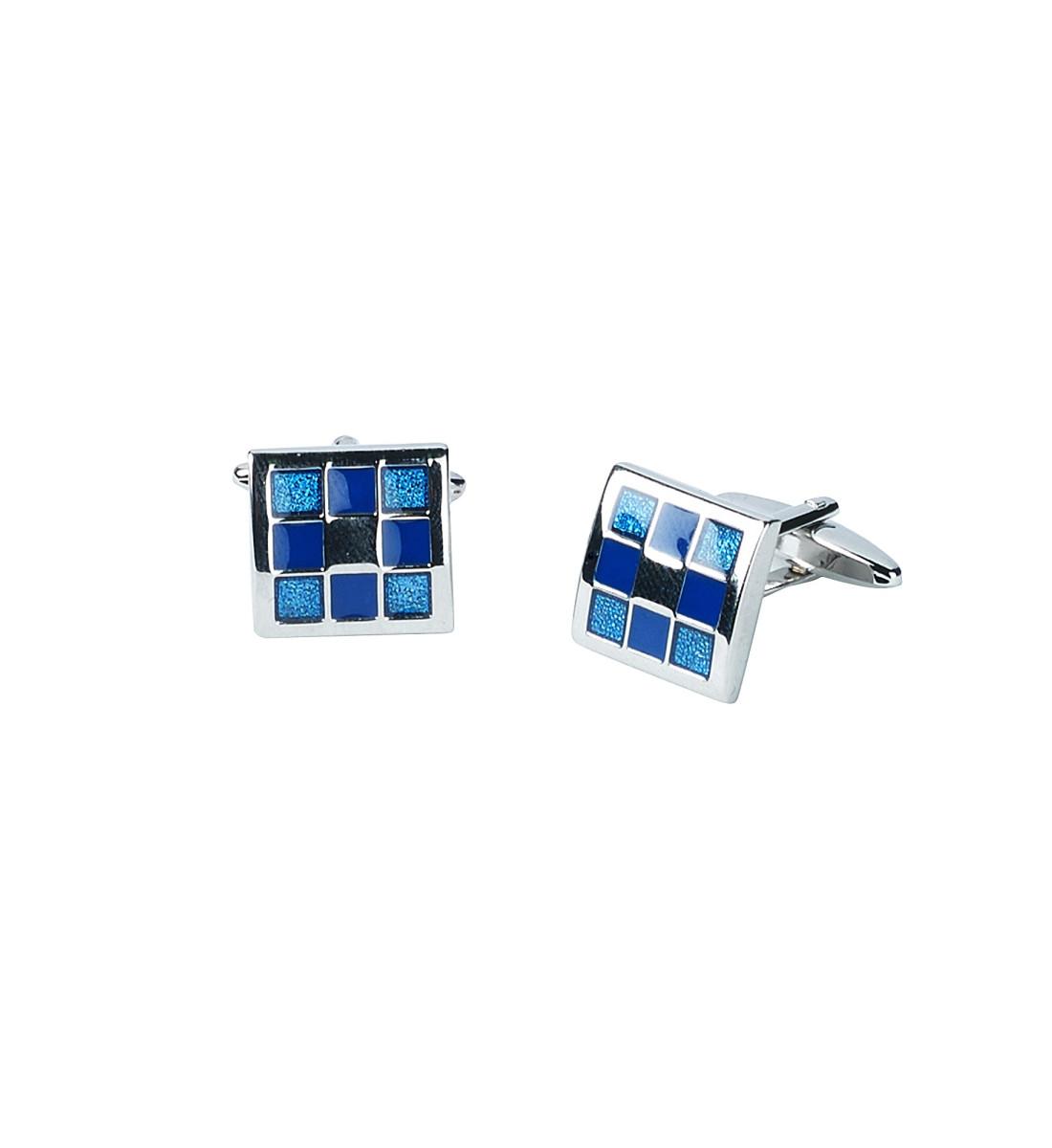 Boutons de manchettes carrés bleu motif damier