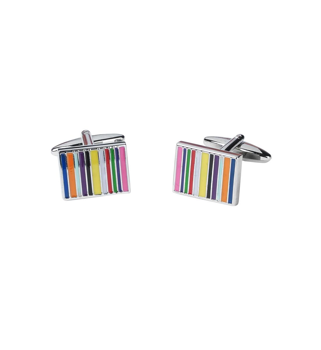 Boutons de manchettes fantaisies motif rayures multicolores