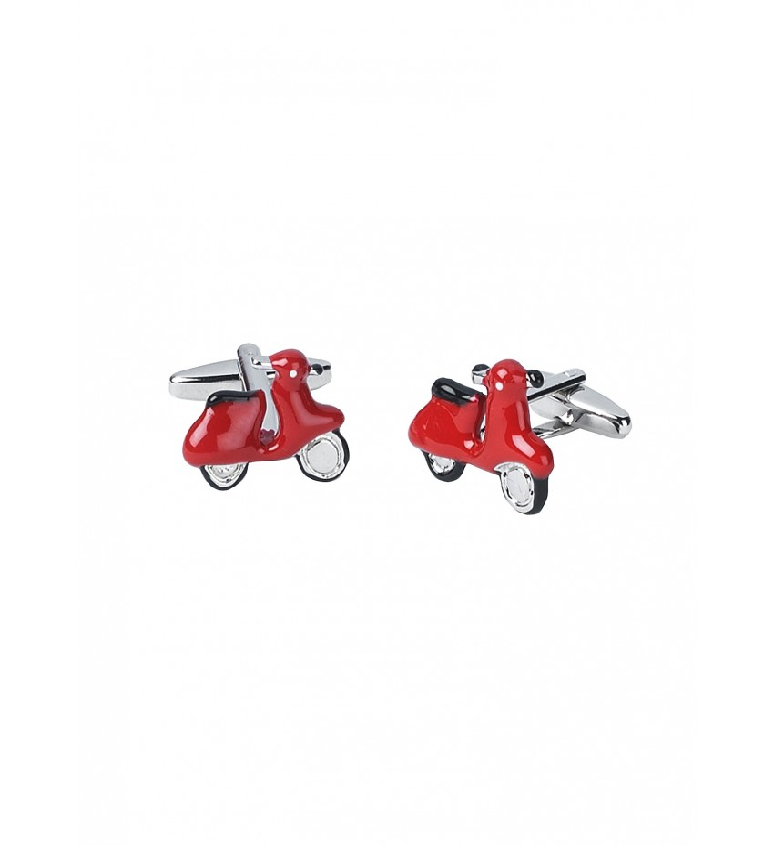 Boutons de manchettes fantaisies rouge motif scooter